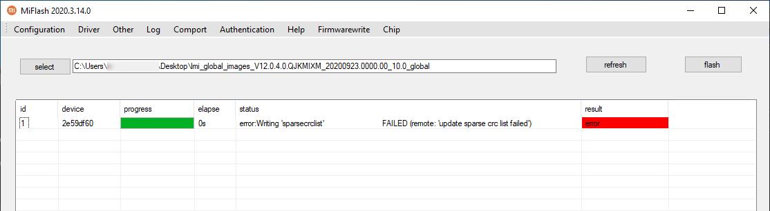 update sparse crc list failed
